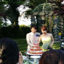 ケーキ入刀もガーデンでしました。