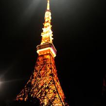 会場から見える東京タワーが絶景です