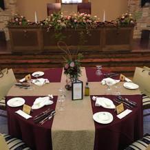 メインテーブルと主賓席