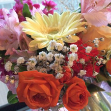 最後にお花を貰えました