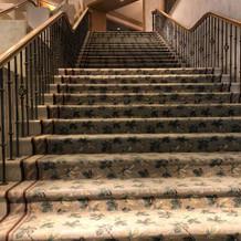 階段も絨毯敷きで高級感がある