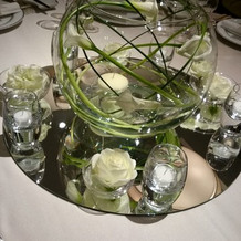 鏡の上には白とグリーンの装花