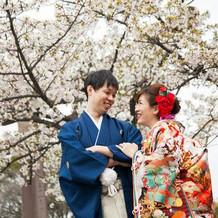 和装は桜の時期の前撮りに着ました。
