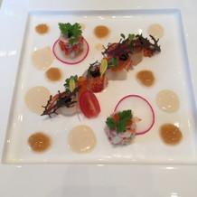 オマール海老と北海つぶ貝の前菜