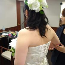 ドレス(装花は芍薬と紫陽花)