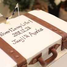 夢を詰め込んだボストンバッグのケーキ。