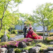 会場内の日本庭園