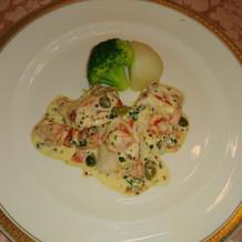 魚料理。オマール海老でした。