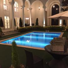 庭にプールがあります
