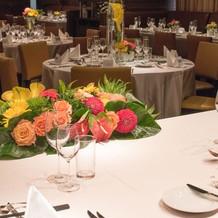 装花とテーブルアレンジ