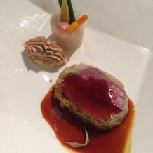 牛フィレ肉の生ハム、フォアグラのパルフェ