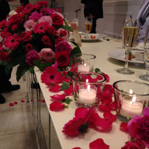 メインテーブル装花 横から