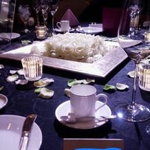 フェアでのテーブル装花の見本