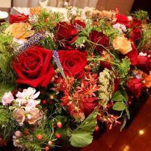テーブル装花も賑やかでした