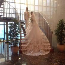 前撮りのウエディングドレスです。