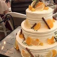 夏にぴったりな柑橘の乗ったチョコケーキ