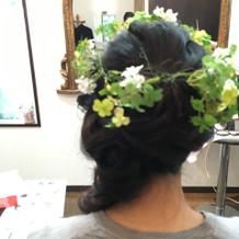 生花のヘッドパーツもできる