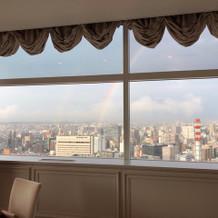 披露宴会場から見えた虹!