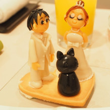 ケーキのトップにオリジナルの人形を