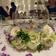 カエルの置物を各テーブルに飾った!