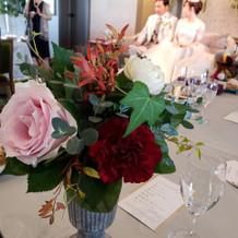披露宴テーブルの装花