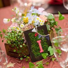 テーブルナンバーと装花☆