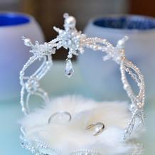 雪の結晶モチーフのリングピロー