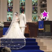 ロイヤルブルーにドレスが映えます!