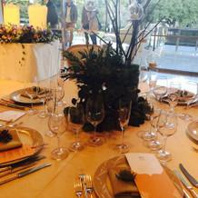 フェアでのテーブル装花