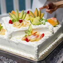 桃とメロンのケーキ