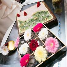 お重箱の中に京都の庭園を表したケーキ
