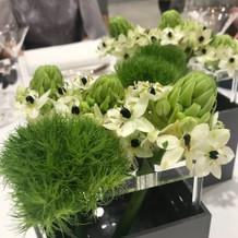テーブル装花は基本のものを使用