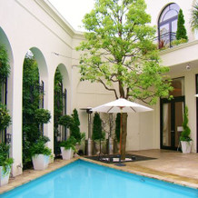 ガーデンからプールを望む