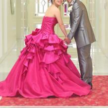 大好きなピンクのカクテルドレス