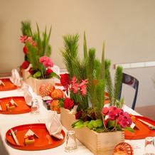 食事の会場。めでたい赤色に囲まれました。