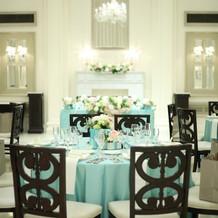 ティファニーブルーのテーブルが爽やか。
