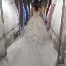 後ろが長くとても華やかなドレスです。