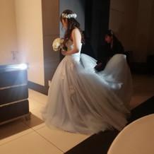青のキラキラのドレスに花冠
