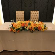 新郎新婦テーブル
