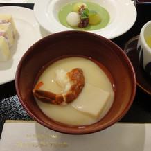白味噌と伊勢海老のお椀とデザート