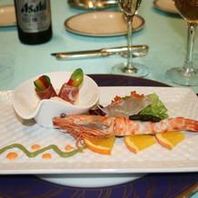 真鯛と車海老のマリネサラダ