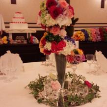 テーブルのお花と兎がとても可愛いです。