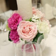 LEDキャンドルとお花