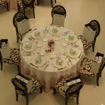 披露宴会場の丸テーブル。可愛らしいクロス