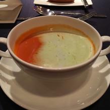 トマトのスープは温かかったです