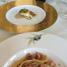 パスタとお魚料理