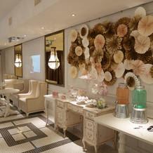 可愛らしい雰囲気のゲスト待合室。
