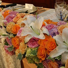 新郎新婦席テーブル装飾