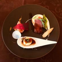 フェアの試食(えび、お肉、フォアグラ)