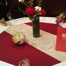 テーブル装飾のお花と毬